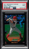 Baseball Cards:Singles (1970-Now), 2011 Bowman Chrome Mike Trout (Draft - Refractor) #101 PSA Mint 9....