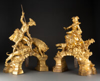 A Fine and Large Pair of French Louis XV-Style Gilt Bronze Chenets by Alfred-Emmanuel Louis Beurdeley, circa 1890 20 x 1...