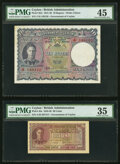 World Currency, Ceylon Government and Central Bank Group of 5 Royal Portrait Notes PMG Graded.. ... (Total: 5 notes)