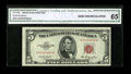 Small Size:Legal Tender Notes, Fr. 1532 $5 1953 Legal Tender Note. Low Serial 92. CGA Gem Uncirculated 65.. ...