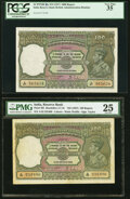 India Reserve Bank of India 100 Rupees ND (1937) Picks 20a; 20l Two examples PCGS Very Fine 35; Very Fine 25. ... (Total...