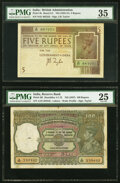 World Currency, India Government of India 5; 100 Rupees ND (1925-37); ND (1937) Picks 4b; 20l Two Examples PMG Choice Very Fine 35; Very F... (Total: 2 notes)