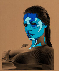 David Flores (b. 1972) Heidi Klum (Blue), c. 2009 Screenprints in colors on board, double-sided 23-1/2 x 19 inches (5