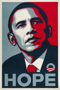 Prints & Multiples, Shepard Fairey (b. 1970). Hope, 2008. Screenprint in colors on paster paper. 36 x 24 inches (91.4 x 61 cm) (sheet). Sign...