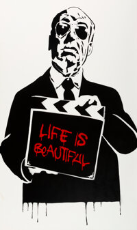 Mr. Brainwash (b. 1966) Alfred Hitchcock (Life is Beautiful), 2008 Stencil and spray paint on canvas 60-1/4 x 36-1/4