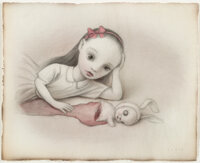 Mark Ryden (b. 1963) The Cloven Bunny, 2003 Pencil and watercolor on paper 8 x 9-1/2 inches (20.3