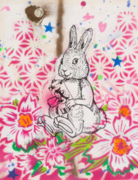 Aiko (b. 1975) Bunny, early 21st century Screenprint, acrylic, stencil, and spray paint on paper 12-1/2 x 9-1/2 inche