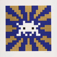 Invader (b. 1969) Sunset (Gold/Blue), 2018 Embossed screenprint in colors on wove paper 16-1/2 x 16-1/2 inches (41.9