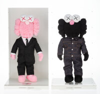 KAWS (b. 1974) BFF Companion (two works), 2019 Polyester plushes in Dior outfits 17 x 7-1/2 inche... (Total: 2)