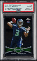 Autographs:Sports Cards, Signed 2012 Topps Chrome Russell Wilson (Stands/Background) #40 PSA Mint 9, Auto 10....