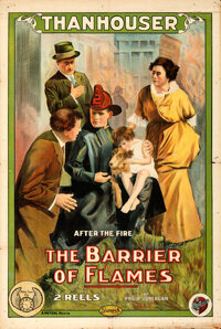 """The Barrier of Flames (Mutual, 1914). Folded, Fine+. One Sheet (28.25"""" X 42"""")"""