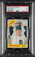 Baseball Cards:Unopened Packs/Display Boxes, 1966 Topps Baseball (7th Series) Cello Pack PSA EX 5 - Denny McLain Top Card! ...