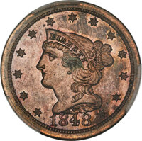 1848 1/2 C First Restrike, B-2, High R.5, PR63 Red and Brown PCGS....(PCGS# 35391)