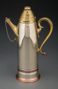 Attributed to Gorham Manufacturing Co. (American, est. 1831) Rare Artillery Shell Cocktail Shaker with Handle a