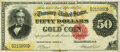 Large Size:Gold Certificates, Fr. 1194 $50 1882 Gold Certificate PMG Very Fine 30.. ...