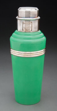 Wilson & Gill (British, est. 1892) Green Master Incolor Cocktail Shaker, circa 1930 Chrome-plated me