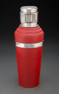 Wilson & Gill (British, est. 1892) Red Master INCOLOR Cocktail Shaker, circa 1930 Chrome-plated metal, Bakelite 11 i...