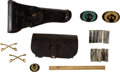Militaria:Uniforms, [Indian Wars]: Fort McKinney Cartridges, Holster, Cartridge Pouch, US Cavalry pins and Patches....