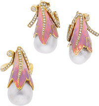 Moira Diamond, South Sea Cultured Pearl, Enamel, Gold Jewelry Suite ... (Total: 2 Items)