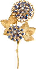 Estate Jewelry:Brooches - Pins, Peter Lindeman Sapphire, Diamond, Gold Brooch.