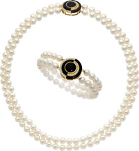 Adler Diamond, Onyx, Cultured Pearl, Gold Jewelry Suite ... (Total: 2 Items)