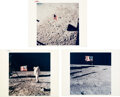 """Explorers:Space Exploration, Apollo 11 Vintage NASA """"Red and Blue Number"""" Color Photos (Three): The American Flag on the Lunar Surface...."""