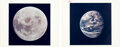 """Explorers:Space Exploration, Apollo 11 Vintage NASA """"Red Number"""" Color Photos (Two): Earth During TransLunar Coast and the Moon after TransEarth Injection.... (Total: 2 Items)"""