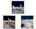 """Explorers:Space Exploration, Apollo 11 Vintage NASA """"Red and Blue Number"""" Color Photos (Three): Buzz Aldrin Working on the Lunar Surface...."""
