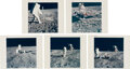 """Explorers:Space Exploration, Apollo 11 Vintage NASA """"Red Number"""" Color Photos (Five): Buzz Aldrin Performing Experiments on the Lunar Surface...."""