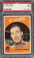 Baseball Cards:Singles (1950-1959), 1959 Topps Al Cicotte #57 PSA Mint 9 - Two Higher....