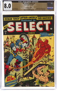 All Select Comics #1 The Promise Collection Pedigree (Timely, 1943) CGC VF 8.0 Off-white to white pages