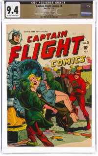 Captain Flight Comics #5 The Promise Collection Pedigree (Four Star, 1944) CGC NM 9.4 Off-white to white pages