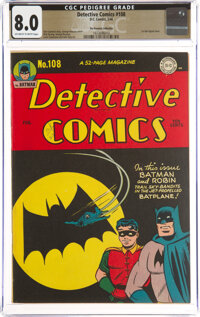 Detective Comics #108 The Promise Collection Pedigree (DC, 1946) CGC VF 8.0 Off-white to white pages