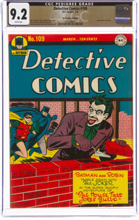 Detective Comics #109 The Promise Collection Pedigree (DC, 1946) CGC NM- 9.2 White pages