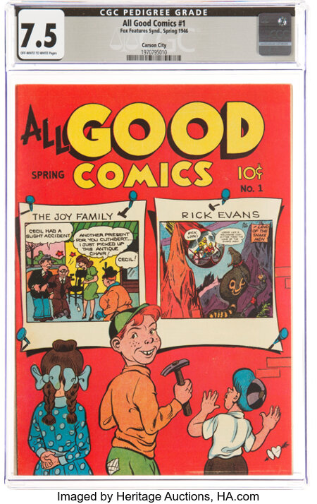 All Good Comics #1 Carson City Pedigree (Fox, 1946) CGC VF- 7.5 Off-white to white pages....