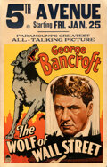 """Movie Posters:Drama, The Wolf of Wall Street (Paramount, 1929). Fine/Very Fine. Window Card (14"""" X 22"""").. ..."""