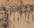 Works on Paper, Harrison Fisher (American, 1875-1934). Drawing of Natives, 1906. Pencil on paper. 9-3/4 x 11-3/4 inches (24.8 x 29.8 cm)...