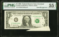 Error Notes:Attached Tabs, Butterfly Fold Error Fr. 1921-D $1 1995 Federal Reserve No...
