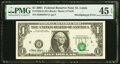 Shifted Third Printing Error Fr. 1926-H $1 2001 Federal Reserve Note. PMG Choice Extremely Fine 45 EPQ