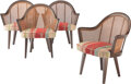 Furniture, Harvey Probber (American, 1922-2003). Four Cane Chairs. Wood, upholstery. 32-1/2 x 27 x 20 inches (82.6 x 68.6 x 50.8 cm... (Total: 4 Items)