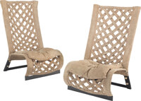 Marzio Cecchi (Italian, 1940-1990) Pair of Lounge Chairs, circa 1976 Suede, enameled steel, chrome-plated brass 48 x...