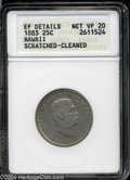 Coins of Hawaii: , 1883 Hawaii Quarter VF20, XF Details ANACS Scratched-...