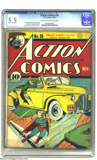 Action Comics #30 (DC, 1940) CGC FN- 5.5 Light tan to off-white pages. Fred Ray cover. Jerry Siegel story. Jack Burnley...