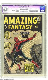 Amazing Fantasy #15 (Marvel, 1962) CGC Apparent FN+ 6.5 Extensive (P) Cream to off-white pages. Overstreet rates this bo...