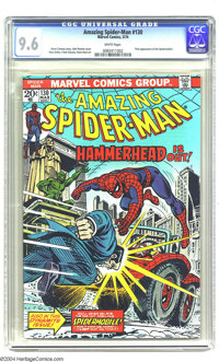 Amazing Spider-Man #130 (Marvel, 1974) CGC NM+ 9.6 White pages. First appearance of the Spidermobile. John Romita Sr. co...