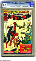 Silver Age (1956-1969):Superhero, Amazing Spider-Man Anl 1 (Marvel, 1964) CGC FN/VF 7.0 Off-white to white pages. First appearance of the Sinister Six. Dr. St...