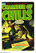 Golden Age (1938-1955):Horror, Chamber of Chills #5 (Harvey, 1952) Condition: VG/FN. Features adecapitation and an acid in face scene. Lee Elias cover art...
