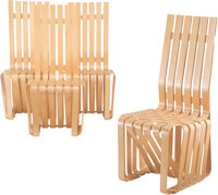 """Frank Gehry (Canadian/American, b. 1929) Set of Four """"High Sticking"""" Chairs, designed 1989, Knoll White maple..."""