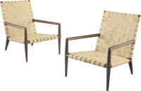 Terence Harold Robsjohn-Gibbings (British, 1905-1976) Pair of Strap Chairs Leather, wood 31 x 23-1/2 x 25 inches (78...
