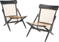 Furniture, Murani (Japanese, 20th Century). Pair of Folding Chairs. Ebonized wood, robe. 30 x 22 x 22 inches (76.2 x 55.9 x 55.9 cm... (Total: 2 Items)